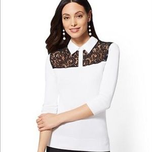 NY&CO Lace-Accent Twofer Sweater - 7th Avenue